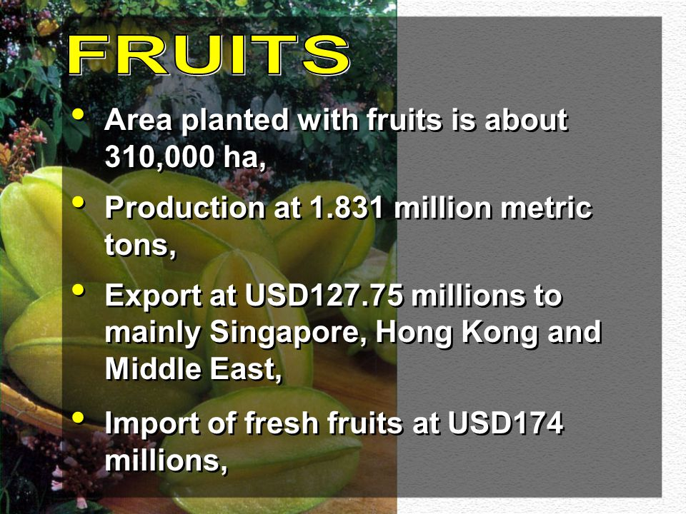 The fruit and vegetable industries in Malaysia has the potential to further grow and contribute to the expansion of the agricultural sector.