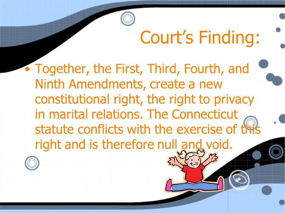 Court's Finding: Together, the First, Third, Fourth, and Ninth Amendments, create a new constitutional right, the right to privacy in marital relations.