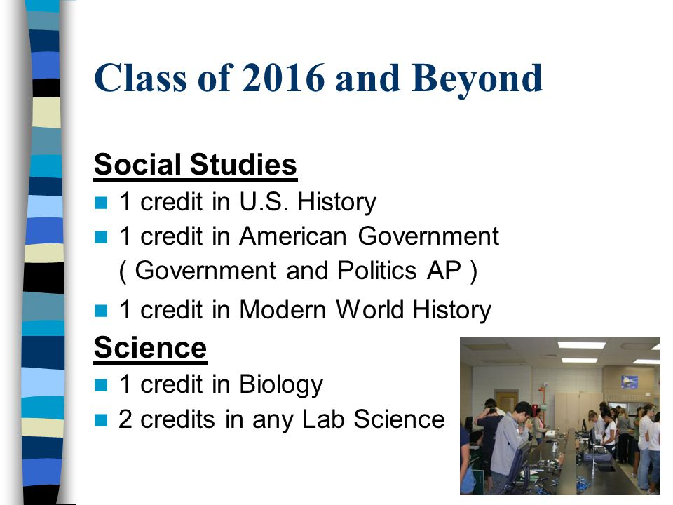 Class of 2016 and Beyond Social Studies 1 credit in U.S.