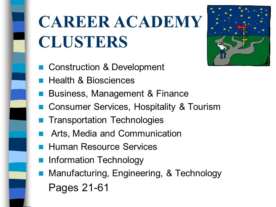 CAREER ACADEMY CLUSTERS Construction & Development Health & Biosciences Business, Management & Finance Consumer Services, Hospitality & Tourism Transportation Technologies Arts, Media and Communication Human Resource Services Information Technology Manufacturing, Engineering, & Technology Pages 21-61