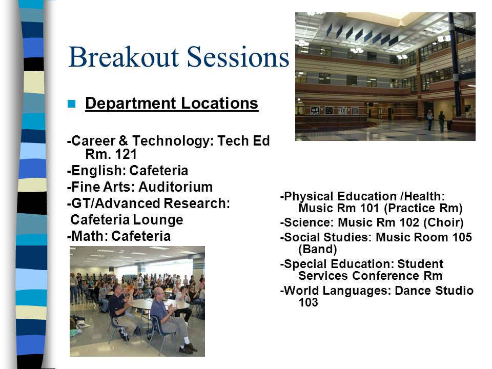 Breakout Sessions Department Locations -Career & Technology: Tech Ed Rm.