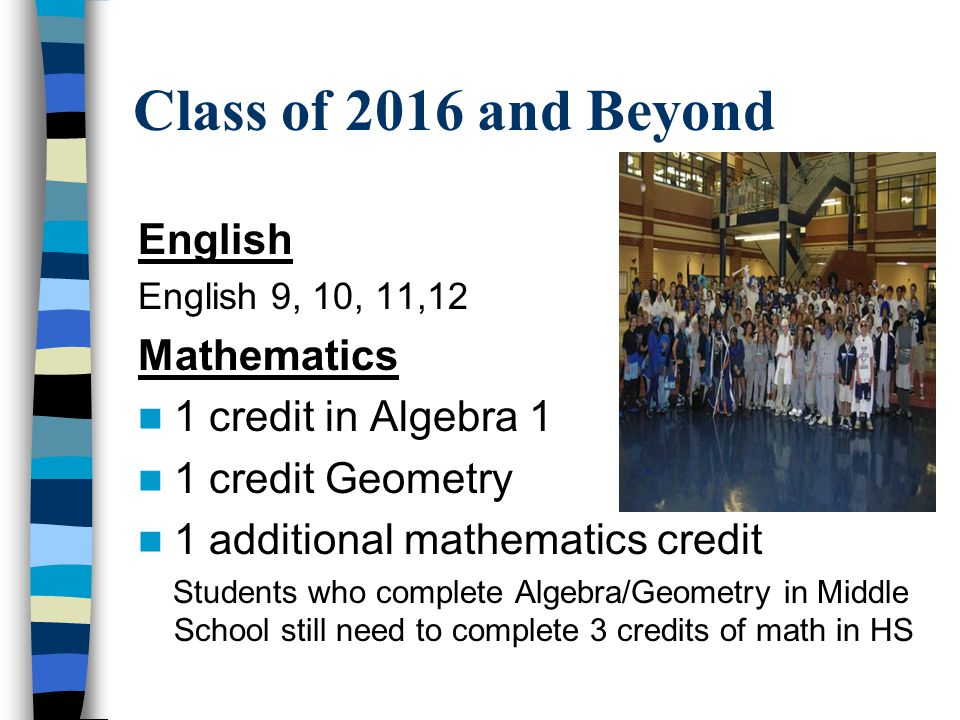 Class of 2016 and Beyond English English 9, 10, 11,12 Mathematics 1 credit in Algebra 1 1 credit Geometry 1 additional mathematics credit Students who complete Algebra/Geometry in Middle School still need to complete 3 credits of math in HS