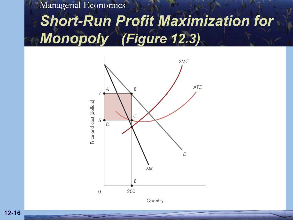 Managerial Economics 12-16 Short-Run Profit Maximization for Monopoly (Figure 12.3)
