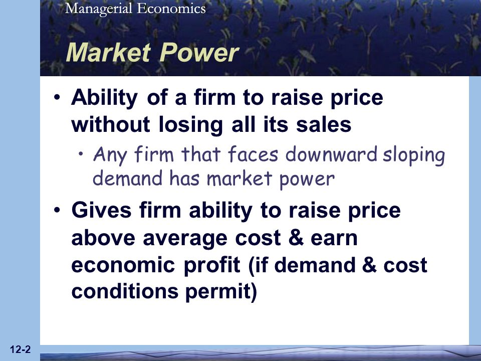 Managerial Economics 12-23 Profit-Maximizing Input Usage For a firm with market power, profit-maximizing conditions MRP = w and MR = MC are equivalent Whether Q or L is chosen to maximize profit, resulting levels of input usage, output, price, & profit are the same