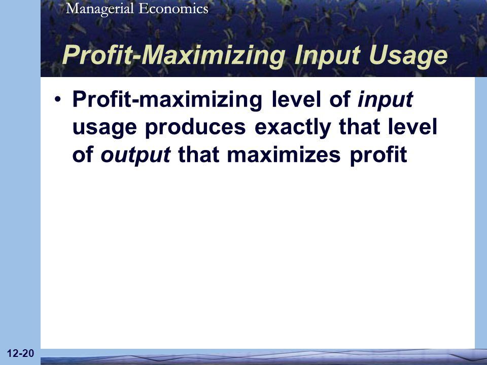 Managerial Economics 12-20 Profit-Maximizing Input Usage Profit-maximizing level of input usage produces exactly that level of output that maximizes p