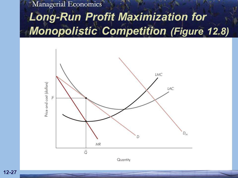 Managerial Economics 12-27 Long-Run Profit Maximization for Monopolistic Competition (Figure 12.8)