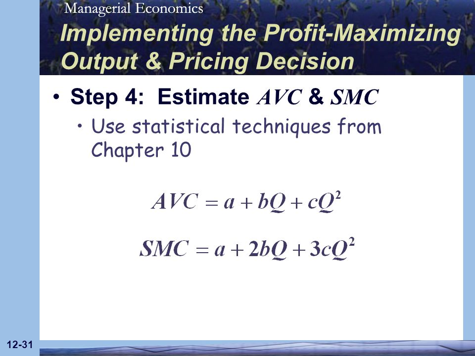 Managerial Economics 12-31 Implementing the Profit-Maximizing Output & Pricing Decision Step 4: Estimate AVC & SMC Use statistical techniques from Cha