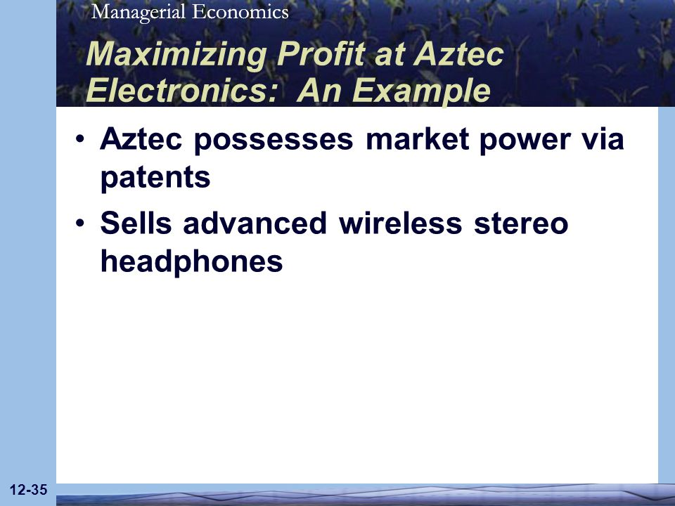 Managerial Economics 12-35 Maximizing Profit at Aztec Electronics: An Example Aztec possesses market power via patents Sells advanced wireless stereo