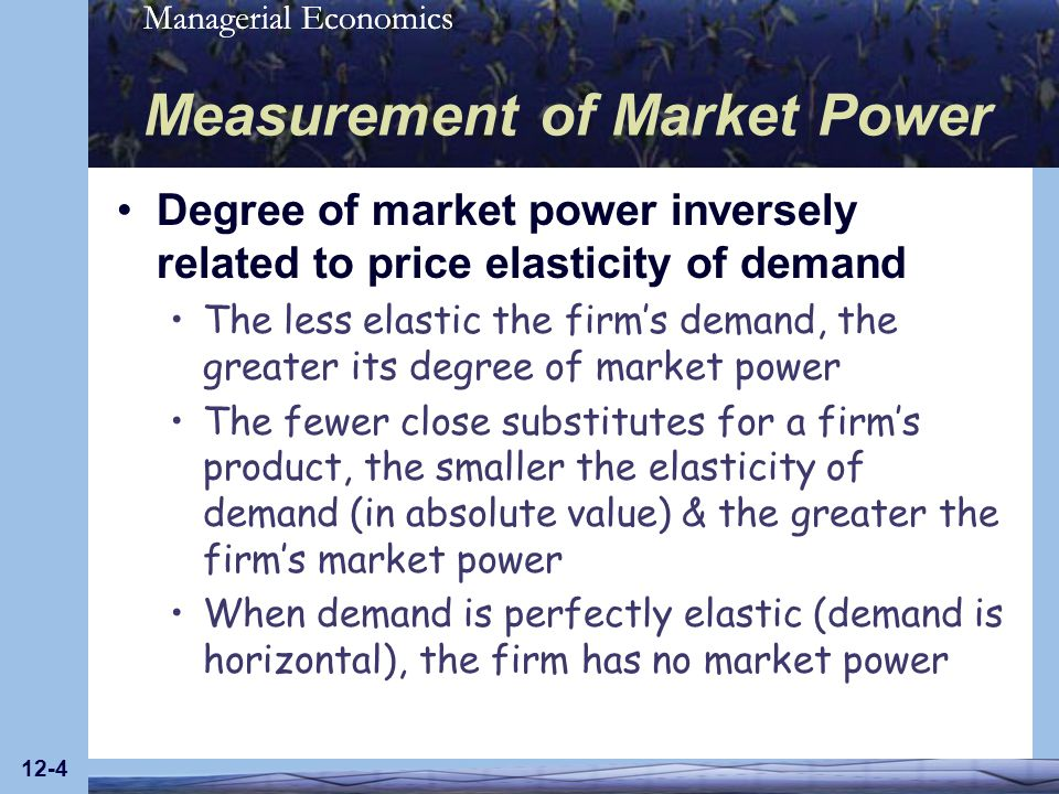 Managerial Economics 12-5 Measurement of Market Power Lerner index measures proportionate amount by which price exceeds marginal cost: