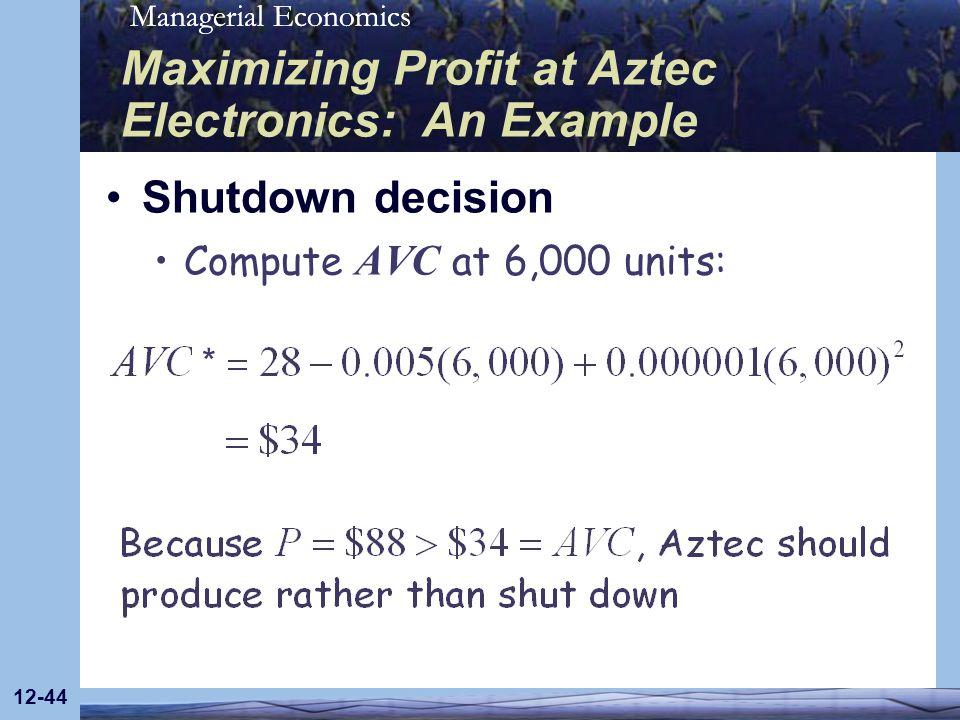 Managerial Economics 12-44 Maximizing Profit at Aztec Electronics: An Example Shutdown decision Compute AVC at 6,000 units: *