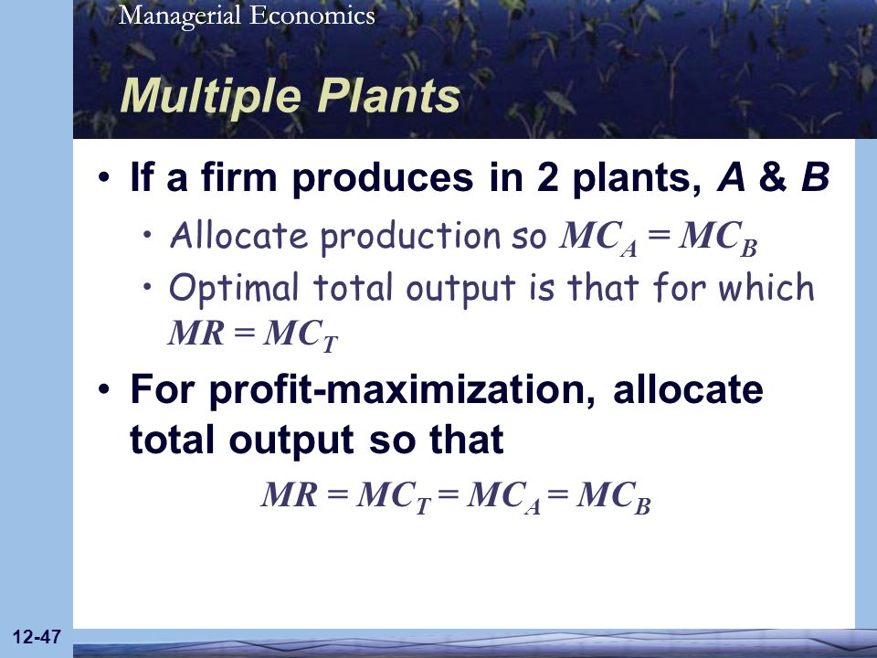 Managerial Economics 12-47 Multiple Plants If a firm produces in 2 plants, A & B Allocate production so MC A = MC B Optimal total output is that for w