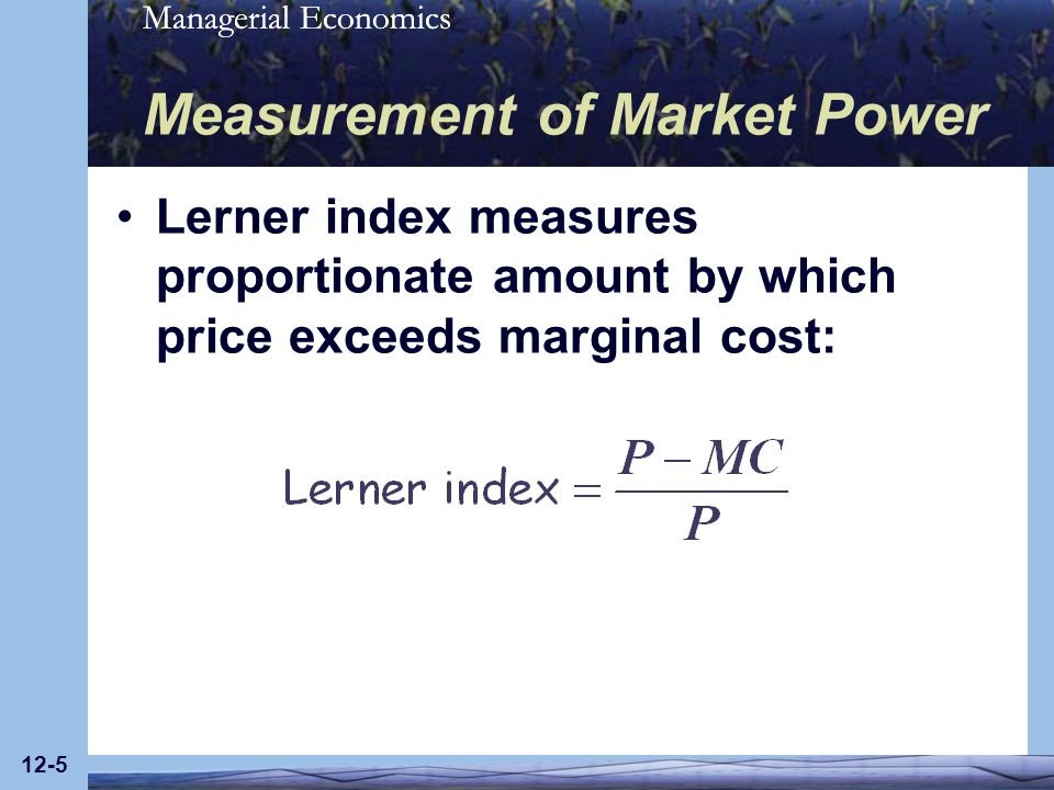 Managerial Economics 12-6 Measurement of Market Power Lerner index Equals zero under perfect competition Increases as market power increases Also equals –1/E, which shows that the index (& market power), vary inversely with elasticity The lower the elasticity of demand (absolute value), the greater the index & the degree of market power