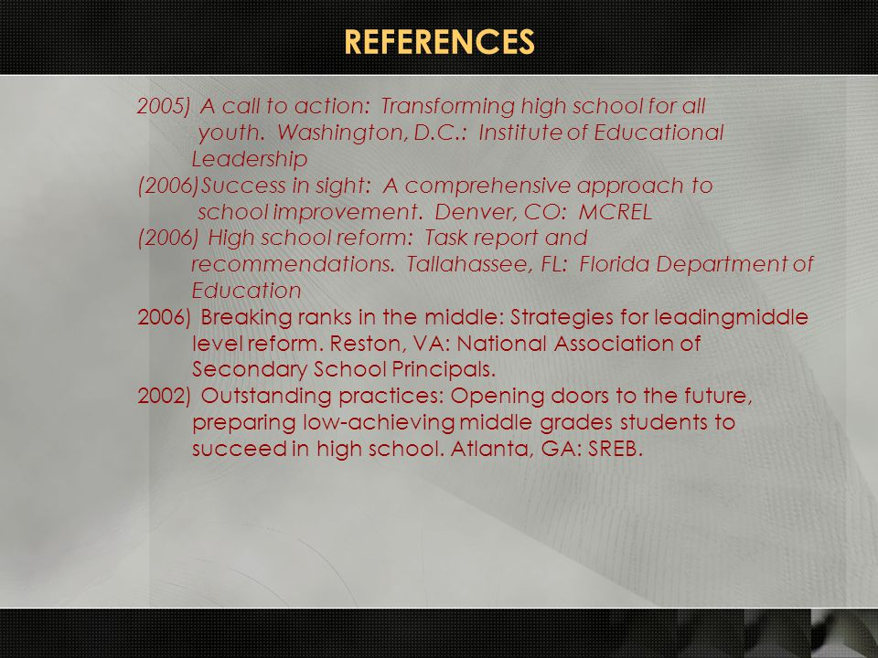 REFERENCES 2005) A call to action: Transforming high school for all youth. Washington, D.C.: Institute of Educational Leadership (2006)Success in sigh