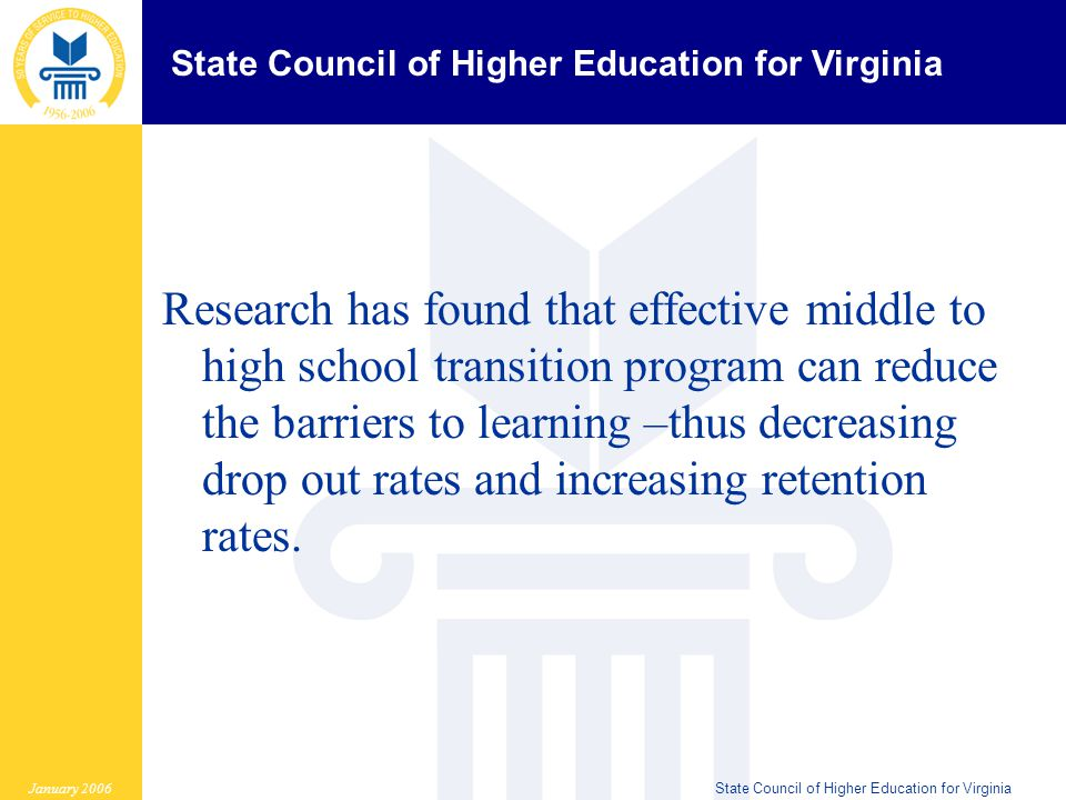 State Council of Higher Education for Virginia January 2006State Council of Higher Education for Virginia Research has found that effective middle to high school transition program can reduce the barriers to learning –thus decreasing drop out rates and increasing retention rates.