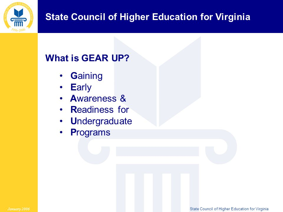State Council of Higher Education for Virginia January 2006State Council of Higher Education for Virginia Assessing the Needs of your Students and Schools 1.What is unique about your ninth graders.