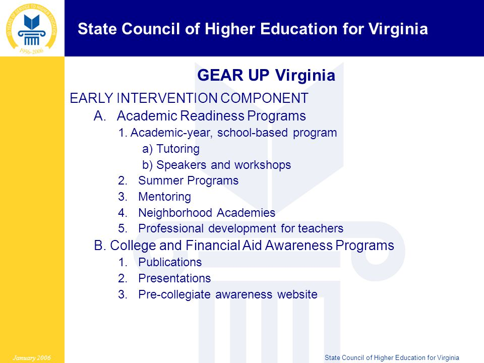 State Council of Higher Education for Virginia January 2006State Council of Higher Education for Virginia In Virginia 88 high schools have a ninth grade retention rate of 20 percent or more Virginia Department of Education, 2004