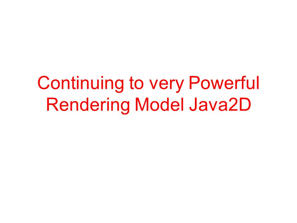 Continuing to very Powerful Rendering Model Java2D