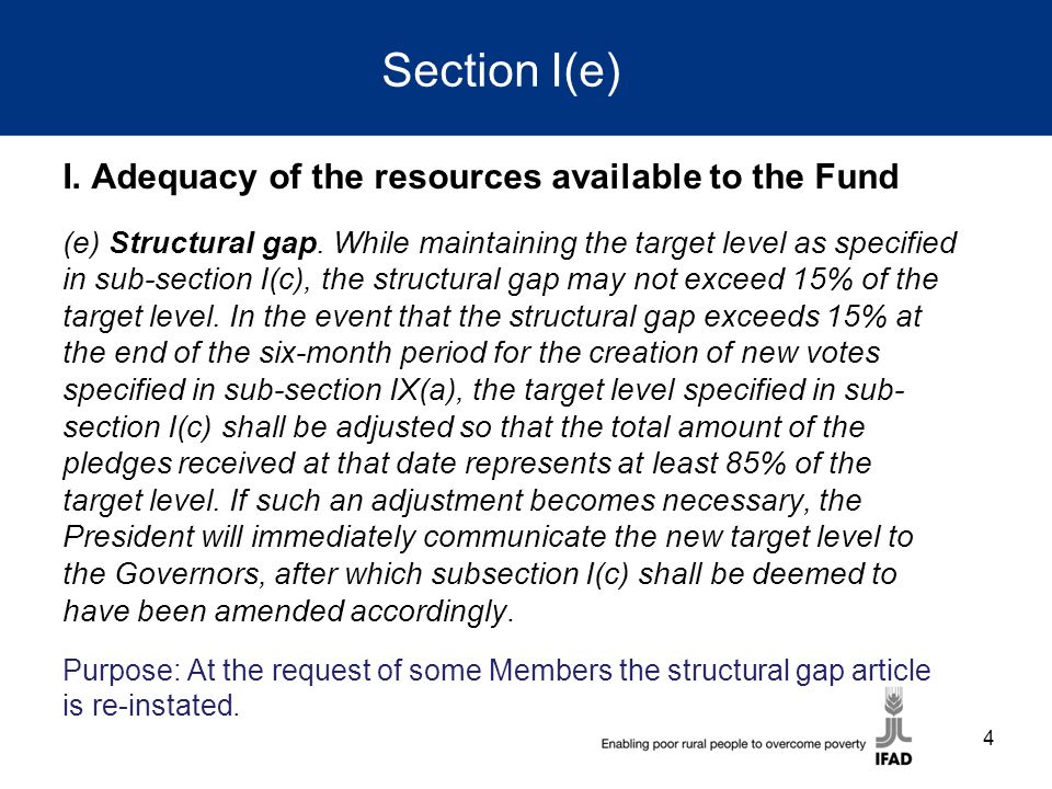 Section I(e) I. Adequacy of the resources available to the Fund (e) Structural gap.