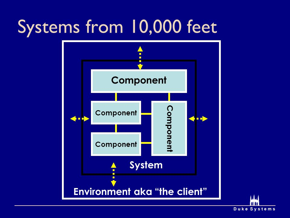 Systems from 10,000 feet Environment aka the client System Component