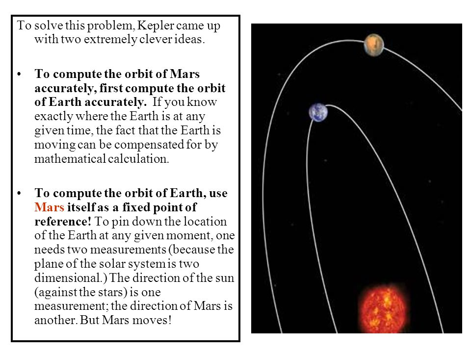 To solve this problem, Kepler came up with two extremely clever ideas. To compute the orbit of Mars accurately, first compute the orbit of Earth accur