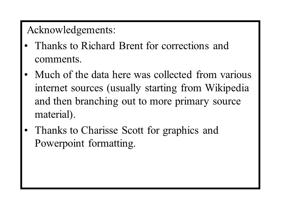 Acknowledgements: Thanks to Richard Brent for corrections and comments. Much of the data here was collected from various internet sources (usually sta