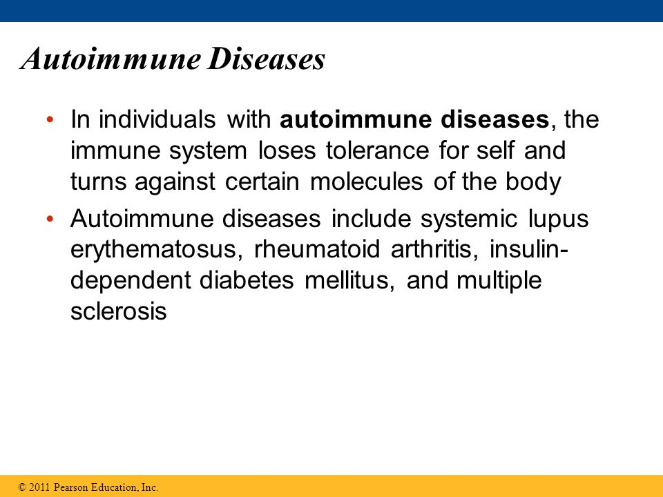 Autoimmune Diseases In individuals with autoimmune diseases, the immune system loses tolerance for self and turns against certain molecules of the bod