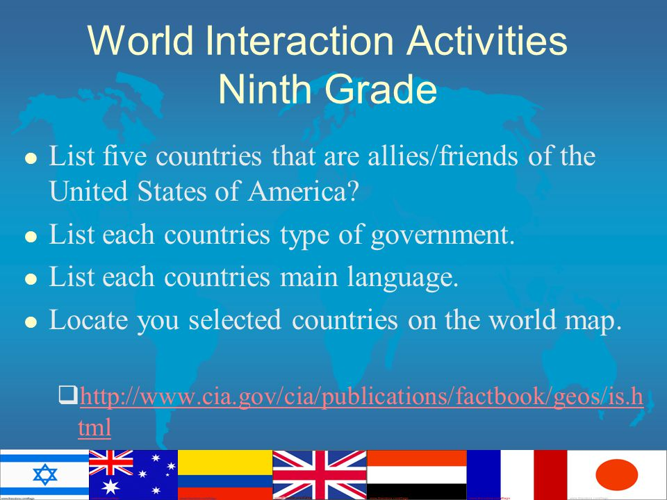 World Interaction Activities Ninth Grade l List five countries that are allies/friends of the United States of America.