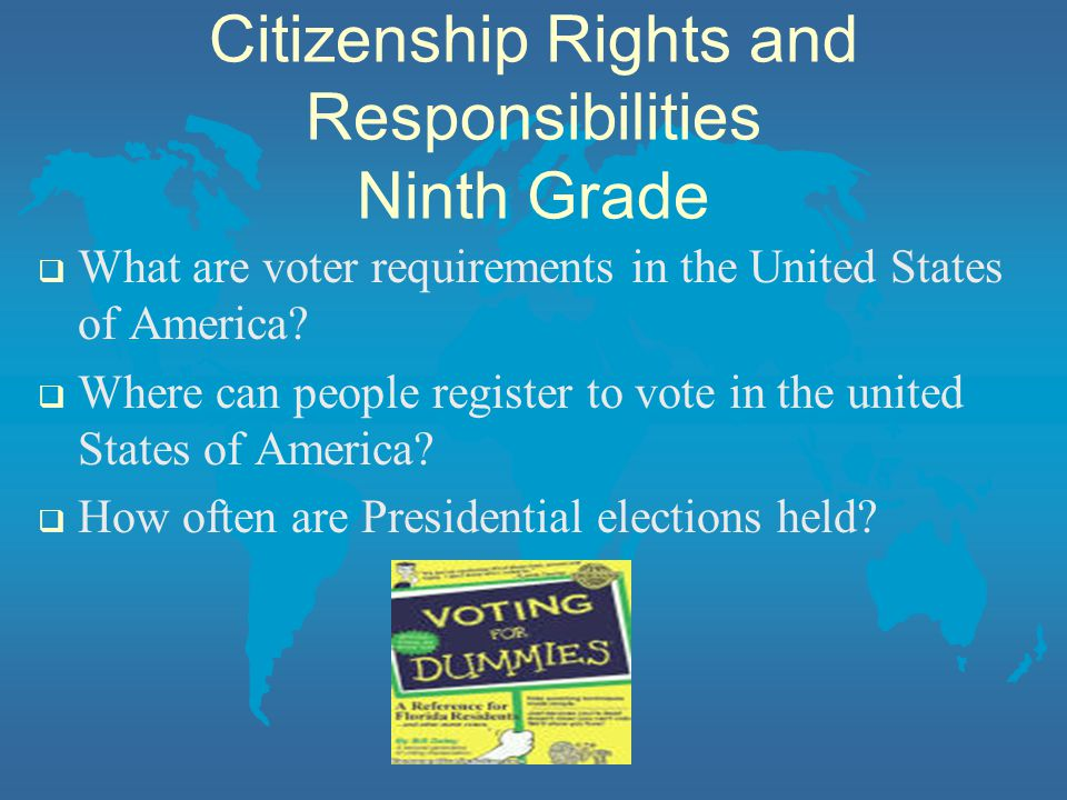 Citizenship Rights and Responsibilities Ninth Grade  What are voter requirements in the United States of America.