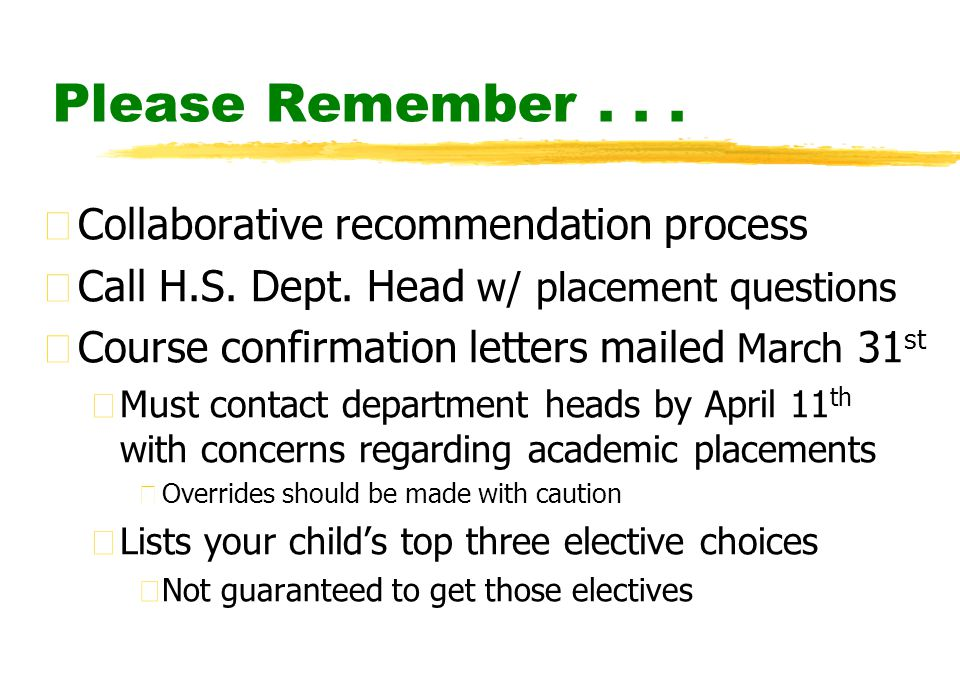 Please Remember... zCollaborative recommendation process zCall H.S.