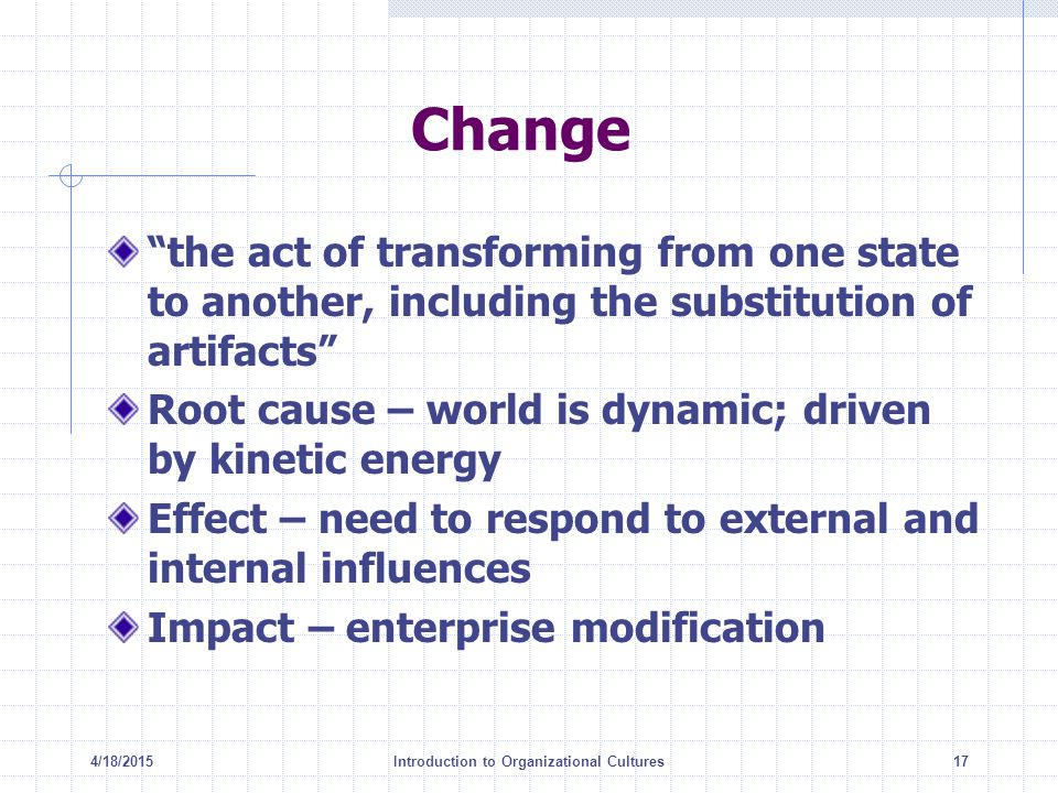 "4/18/2015Introduction to Organizational Cultures17 Change ""the act of transforming from one state to another, including the substitution of artifacts"""