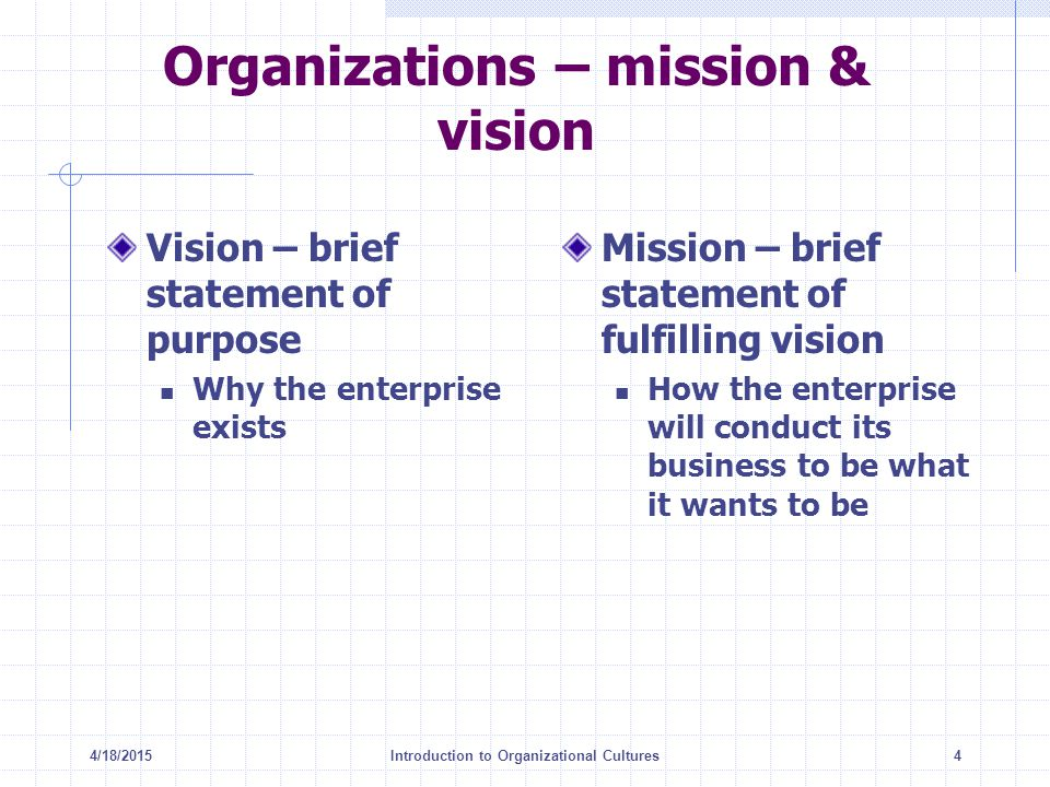 4/18/2015Introduction to Organizational Cultures4 Organizations – mission & vision Vision – brief statement of purpose Why the enterprise exists Missi