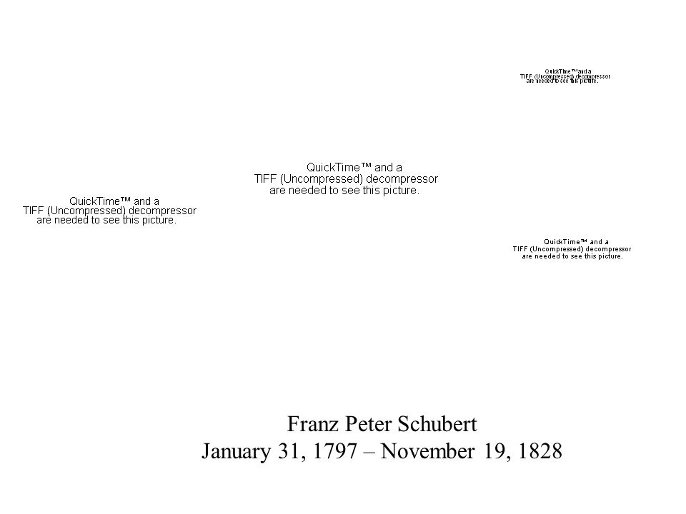 Franz Peter Schubert January 31, 1797 – November 19, 1828