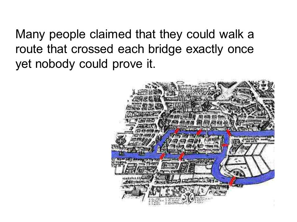 Many people claimed that they could walk a route that crossed each bridge exactly once yet nobody could prove it.