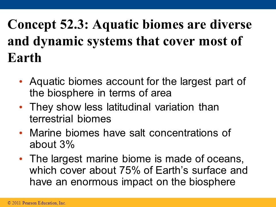 Concept 52.3: Aquatic biomes are diverse and dynamic systems that cover most of Earth Aquatic biomes account for the largest part of the biosphere in