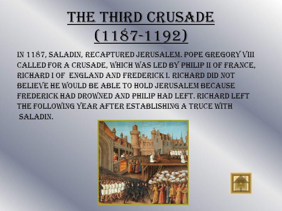 The Second Crusade (1147-1149) After a period of relative peace in which Christians and Muslims co- existed in the Holy Land. French and South German