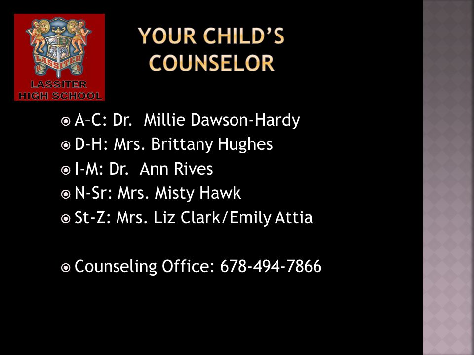  A–C: Dr. Millie Dawson-Hardy  D-H: Mrs. Brittany Hughes  I-M: Dr.