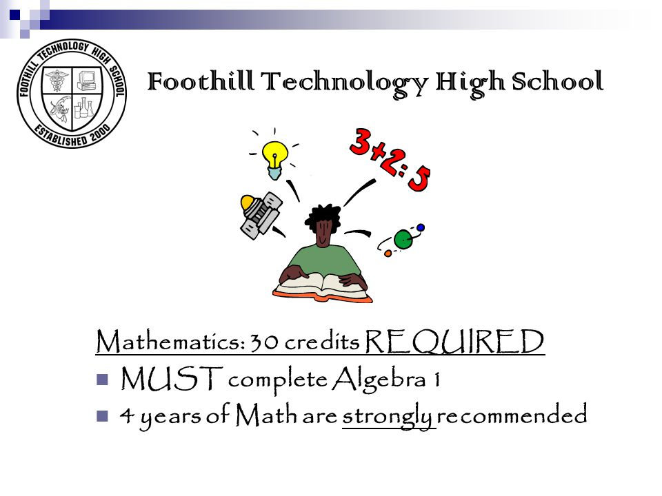 Foothill Technology High School SCIENCE: 20 credits REQUIRED  10 credits of a LIFE science (Biology, Physiology)  10 credits of a PHYSICAL science (Chemistry, Physics)  3 to 4 years of science are Strongly recommended  At FTHS all 11 th grade students will be enrolled in a science class