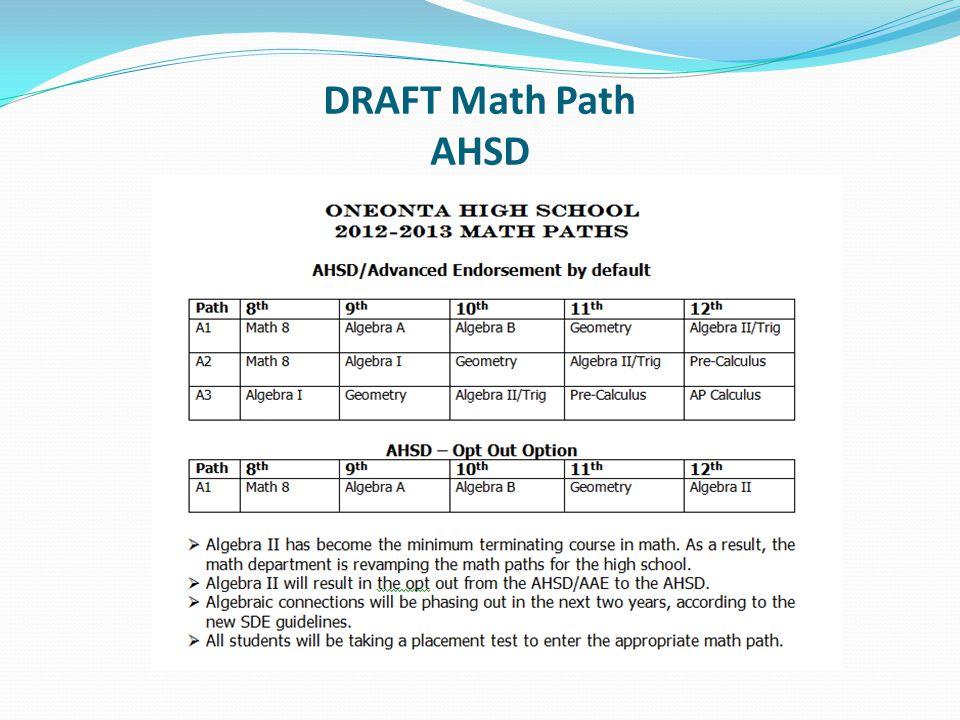 DRAFT Math Path AHSD