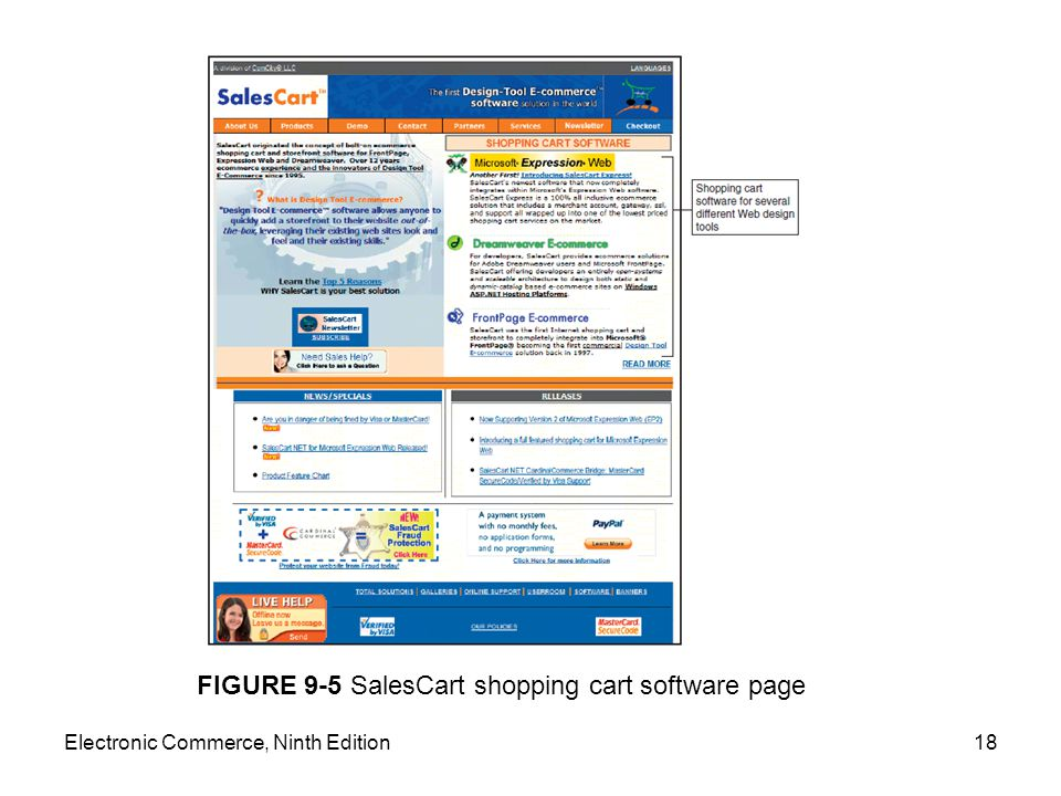 Electronic Commerce, Ninth Edition18 FIGURE 9-5 SalesCart shopping cart software page