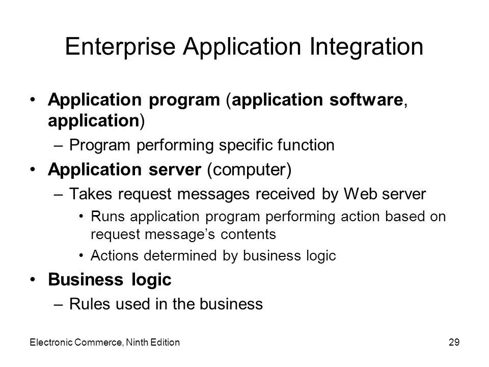 Electronic Commerce, Ninth Edition29 Enterprise Application Integration Application program (application software, application) –Program performing sp