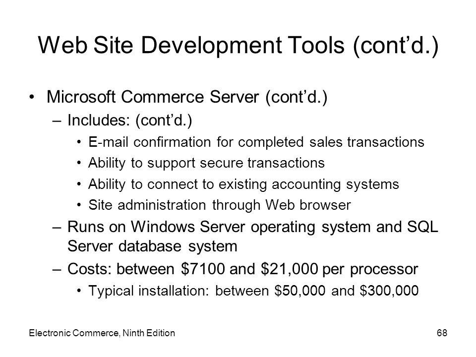 Web Site Development Tools (cont'd.) Microsoft Commerce Server (cont'd.) –Includes: (cont'd.) E-mail confirmation for completed sales transactions Abi