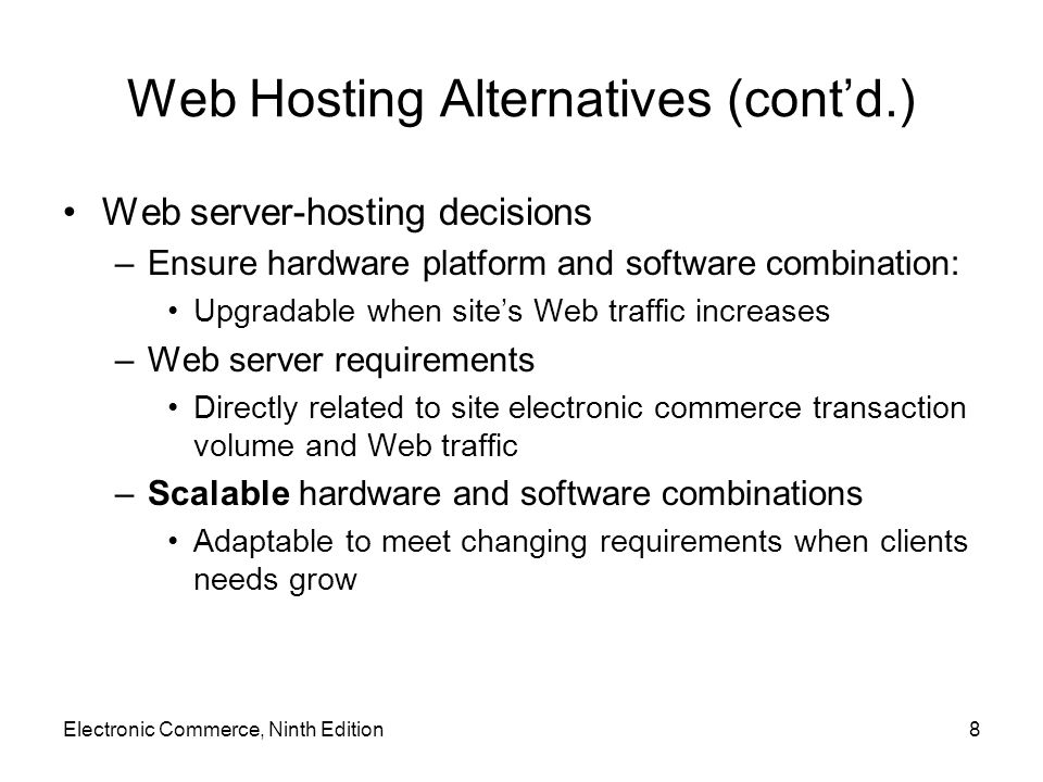 Web Services (cont'd.) How Web services work (cont'd.) –More advanced example Web services purchasing software used to obtain vendor price information Purchasing agent authorizes purchase using software to submit order, track until shipment received Vendor s Web services software checks buyer's credit, contracts with freight company Electronic Commerce, Ninth Edition39