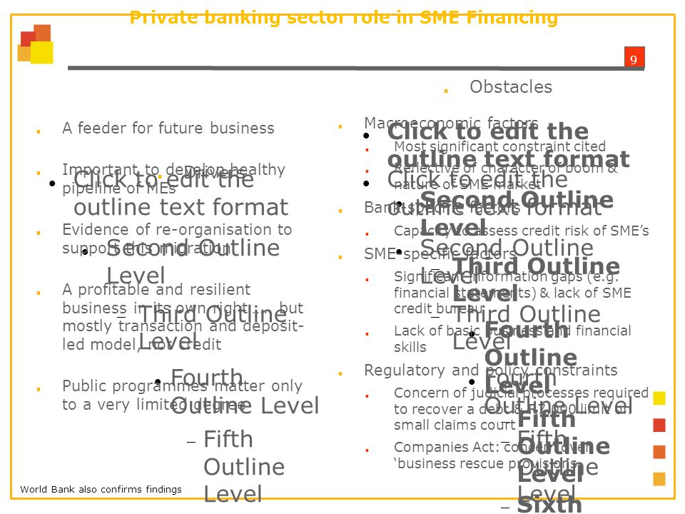1010 Survey on Hurdles to SME Financing ■ 18 Financial Intermediaries (FIs)– banks, DFI's and private equity funds participated in the online survey ■ Successful financing greater among SMEs with higher turnover ■ Small SMEs require greater ancillary support ■ FI's working with model that is not totally appropriate for market of largely previously disadvantaged entrepreneurs ■ Need for FI's to develop more risk appropriate evaluation models and products tailored to this market segment
