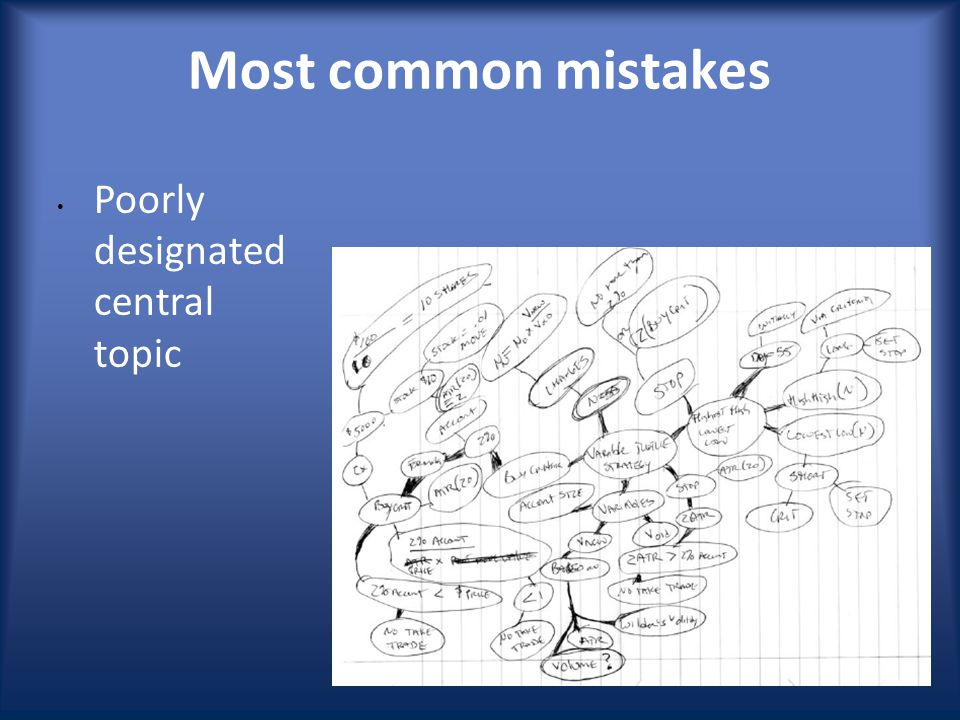 Poorly designated central topic Most common mistakes