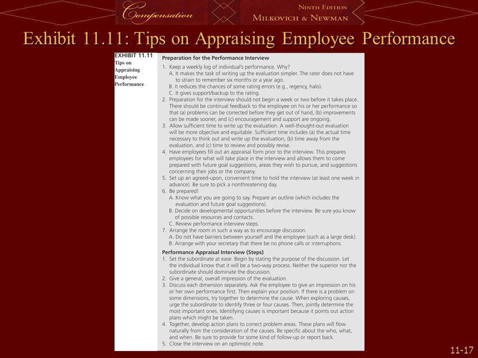 11-17 Exhibit 11.11: Tips on Appraising Employee Performance