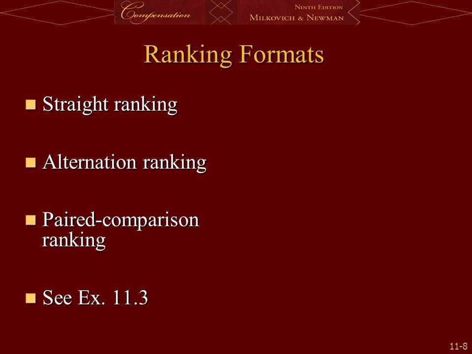 11-8 Ranking Formats Straight ranking Straight ranking Alternation ranking Alternation ranking Paired-comparison ranking Paired-comparison ranking See Ex.