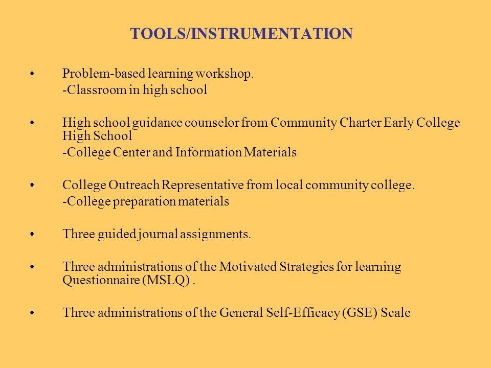TOOLS/INSTRUMENTATION Problem-based learning workshop.
