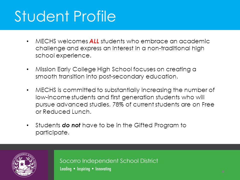 MECHS welcomes ALL students who embrace an academic challenge and express an interest in a non-traditional high school experience.