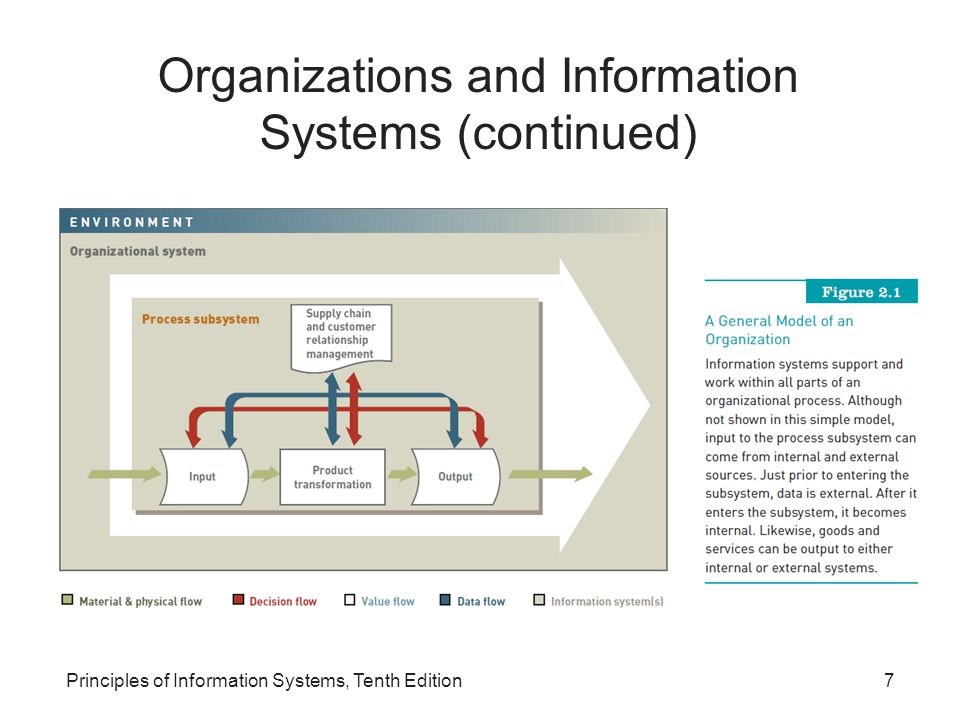 Principles of Information Systems, Tenth Edition18 Organizational Culture and Change Culture: –Set of major understandings and assumptions shared by a group Organizational culture: –Major understandings and assumptions –Influences information systems Organizational change: –How organizations plan for, implement, and handle change