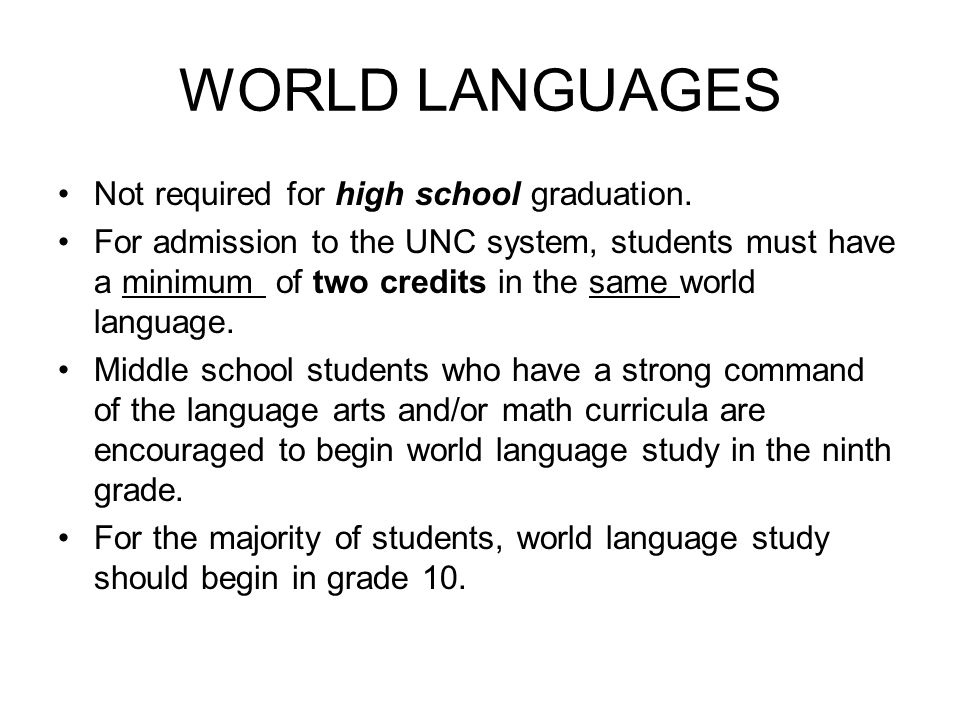 WORLD LANGUAGES Not required for high school graduation.
